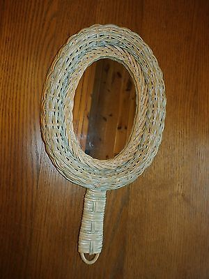 Vintage Braided and Woven Wicker Hand Mirror Oval Pale Green & Natural