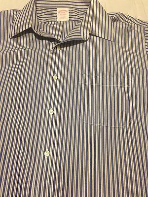 Men's Brooks Brothers Striped Dress Shirt Traditional Fit Non Iron Size 16 Large
