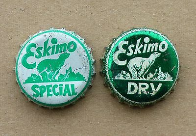 2 rare ESKIMO polar bear Dry / Special Soda cork lined bottle caps FREE SHIP!
