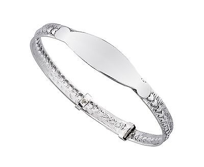 925 Sterling Silver Adjustable  Baby's Christening ID Bangle Bracelet