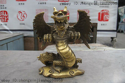 Chinese Myth FengShui Brass Copper Lucky Fly wing Dragon Auspicious Statue