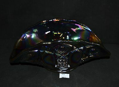 ThriftCHI ~ Carnival Glass Banana Boat Red Ruby Glass w Silver Iridescent Finish