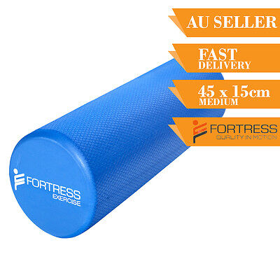 Foam Roller FORTRESS Medium Round Solid Body Therapy Blue Yoga Fitness