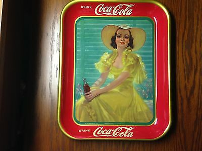 Vintage 1938 Lady In Yellow Original Coca Cola Coke Tray In Awesome Shape