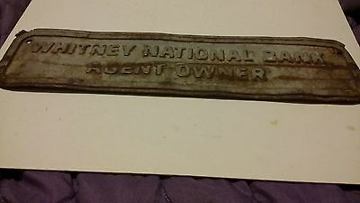 Vintage Whitney National Bank Agent Owner Building Plaque Louisiana