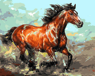 "16X20"" Paint By Number Kit DIY Oil Painting on Canvas Horse 1008"