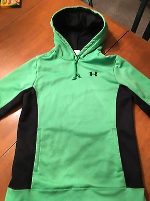 UNDER ARMOUR Hoodie Sweatshirt Women's Size Small Black/Lime Green EUC