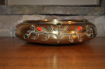 Brass Bowl with Red & Green Cabochons - Arts & Crafts Style