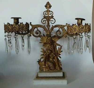 Antique Victorian Candelabra Brass Crystals On A Marble Base~ Romantic Scene