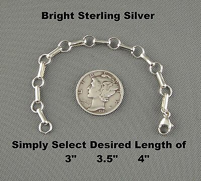 BRIGHT Sterling Silver Chain Link Interchangeable Removable NECKLACE EXTENDER