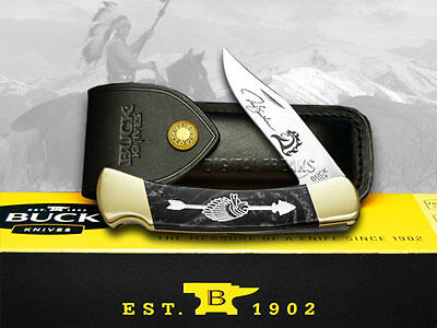 BUCK 110 Yellowhorse Custom Black Pearl Corelon Chief Arrowhead 1/100 Knife
