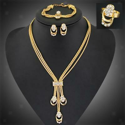Women's Wedding Bridal Party Prom Crytsal Necklace Earrings Jewelry Set Gift