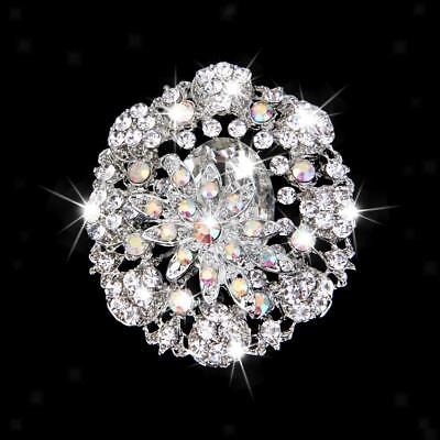Elegant Bling AB Crystal Rhinestone Flower Bridal Wedding Party Brooch Pin
