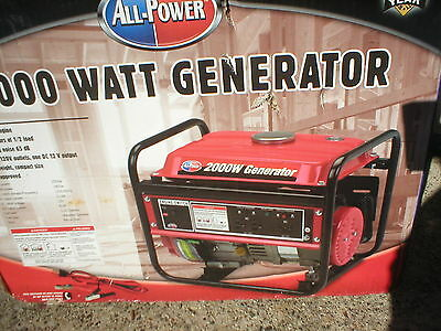 New ALL POWER 2000 WATT 3HP OHV GAS POWERED PORTABLE GENERATOR  APG3014