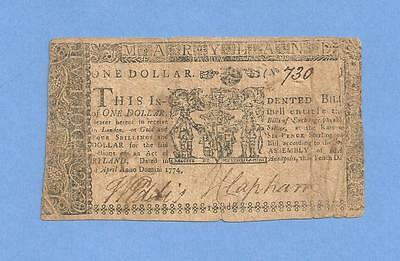 1774 Maryland $1 Colonial Currency Affordable Solid Details Very Fine Grade