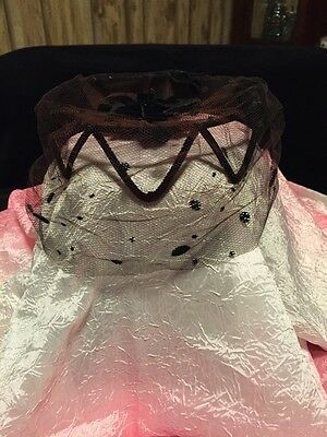 Vintage 1960's Ladies Black Hat  W/Netting And Bows, Good Condition