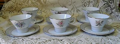 Set Of 6 Noritake Floral Flower Harlequin Duos Cups And Saucers Made In Japan