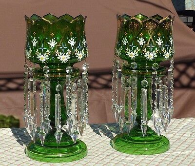 Superb LARGE Glass and Crystal Antique Victorian Era Moser Lustres