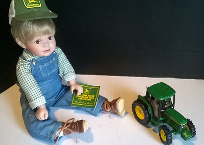 1999 John Deere Johnny Danbury Mint Porcelain Collector Doll Tractor w/ Tags