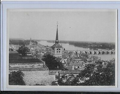 ww1 photo from collection of a.e.f soldier  french town,river chapel turret 5x7