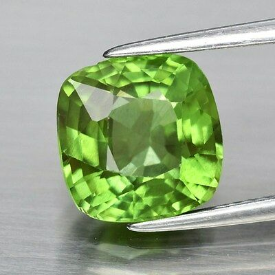 Good Color 3.36ct 9mm Cushion Natural Untreated Green Peridot