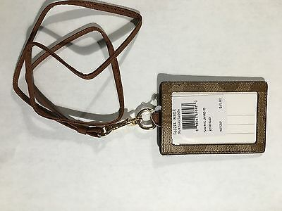 New Coach Floral Lanyard Id Holder Khaki-Saddle  F63274  $65