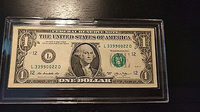2013 $1 Federal Reserve Note - Fancy Serial Number - Repeater - Circ