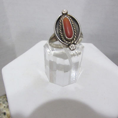 OLD PAWN Vintage Navajo STERLING SILVER 925 Etched Carved CORAL Ring Size 7.5