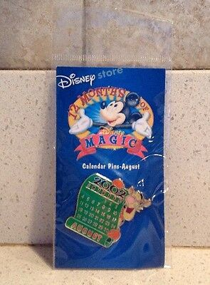 Tigger Calendar Pin August 2002 12 Months of Magic Disney Store NEW Winnie Pooh