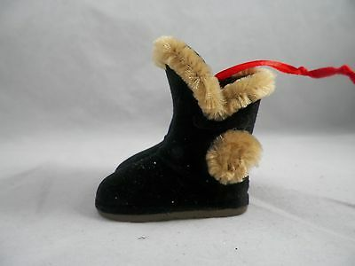 Black Flocked Boot with Fur Christmas Tree Ornament new holiday