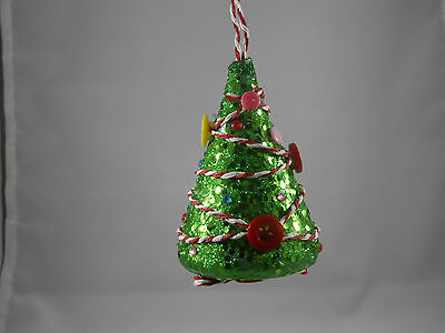 Green Glittered Tree with Button Garland Christmas Tree Ornament new holiday