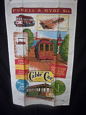 Tea Towel San Francisco Cable Car Powell and Hyde Kitchen Dish Towel