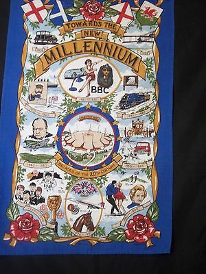 Vintage Tea Towel Dish Cloth Millenium GB UK BBC Cotton