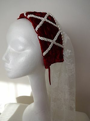 New Red Renaissance Medieval Tudor Womens Hat Cap Costume