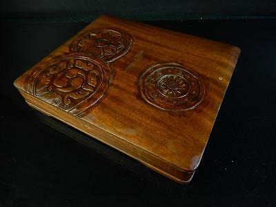F177: Japanese Wooden tile sculpture INKSTONE CASE Box Calligraphy tool.