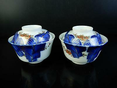 F185: Japanese Old Imari-ware TEA BOWL/dish of soup with the lid 2pcs