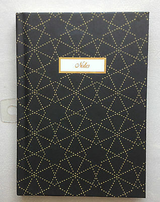 H&M 1Pc Diary Notebook Memo Paper Notes Book Black Gold Border Strip Hard* Cover
