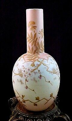 Signed Antique Victorian Bohemian Harrach Cherry Blossom Enamel Art Glass Vase