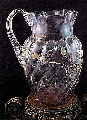Antique Victorian Bohemian Harrach Floret Platinum Gold Enamel Art Glass Pitcher