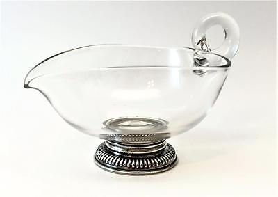 Beautiful Frank M. Whiting & Company Blown Glass Creamer w/ Sterling Silver Base
