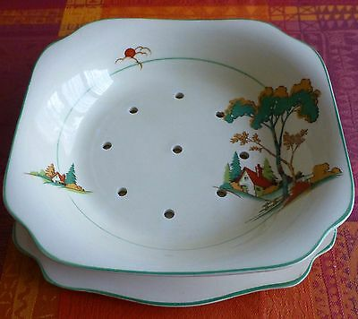 Staffordshire Vintage Berry Strainer and Plate