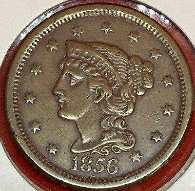 1856 Braided Hair Large Cent Slanting 5 AU+++++Detail Make Us An Offer LC47