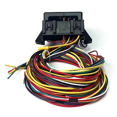 12 circuit 14 fuse universal street rod wiring harness us made 12v 10 circuit basic wiring harness fuse box street hot rat rod wiring car truck