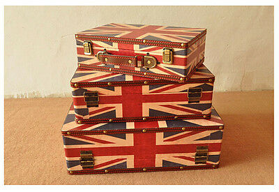 3pcs Large Vintage Union Jack British Flag Suitcase Decorative Storage Box Chest