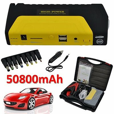 50800mAh Car Jump Starter Pack Portable Booster Charger Battery Power Bank 12V