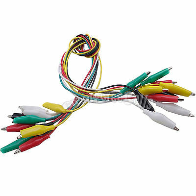 10 pcs Double-ended Crocodile Alligator Clip Cable Testing Jumper Wire US Stock