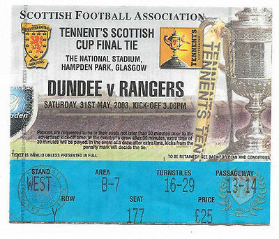 Ticket 2003 Scottish Cup Final - RANGERS v. DUNDEE