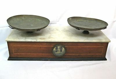 Antique Vintage Scale Balance Apothecary Marble & Brass & Wood