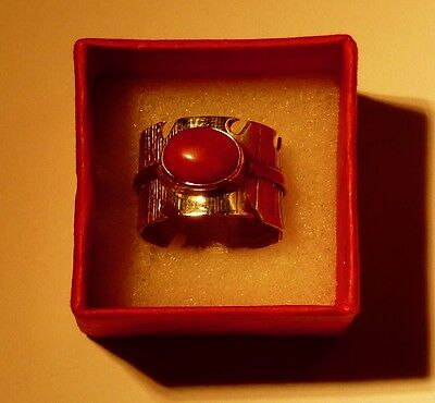 Handmade Sterling Silver Ring with Ruby Stone, Size R 1/2