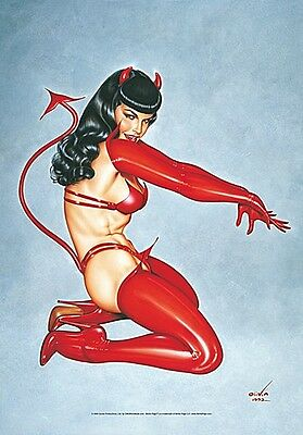 "Bettie Page ""Devil"" large fabric poster / flag   1100mm x 750mm (hr)"